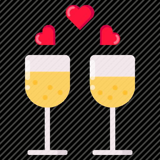 champagne, date, dinner, drink, love, valentine icon