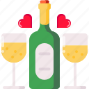 champagne, date, dinner, night, propose, valentine icon