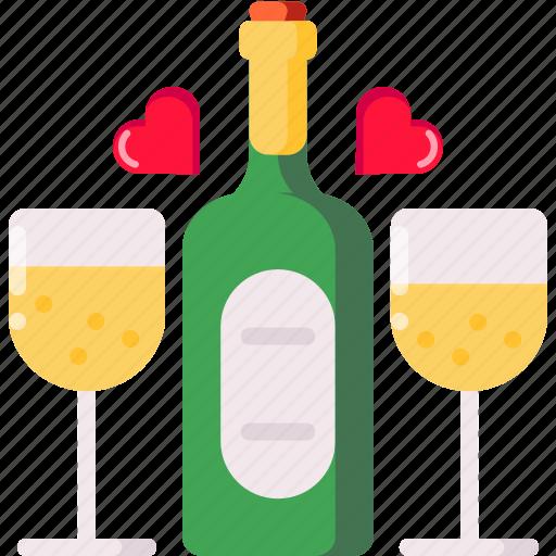 champagne, date, dinner, night, propose, valentine icon