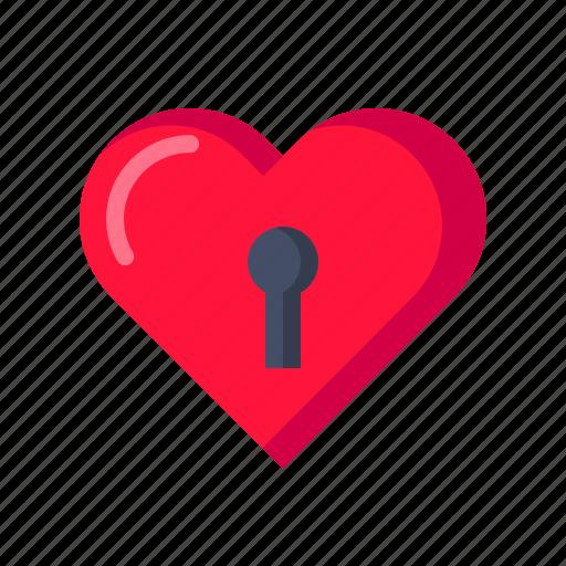 hard, heart, lock, love, tough, valentine icon