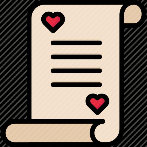 document, letter, love, loveletter, valentine icon