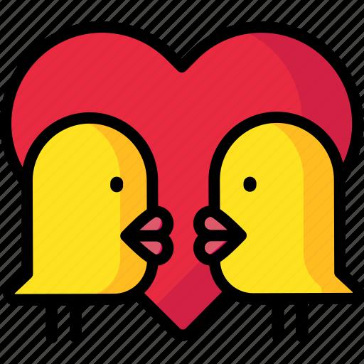 birds, heart, love, lovebirds, valentine icon
