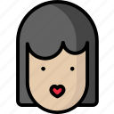 girl, heart, kiss, valentine icon