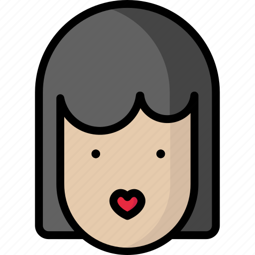 girl, heart, kiss, valentine icon