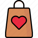 heart, shoppingbag, shoppinglove, valentine icon