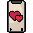heart, iphone, iphonex, mobile, valentine icon