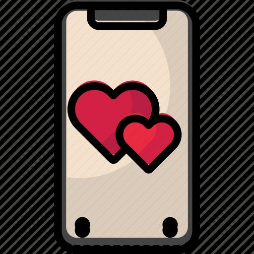 heart, iphone, iphonex, mobile, valentine icon
