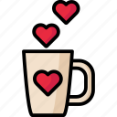 love, mug, romantic, valentine icon