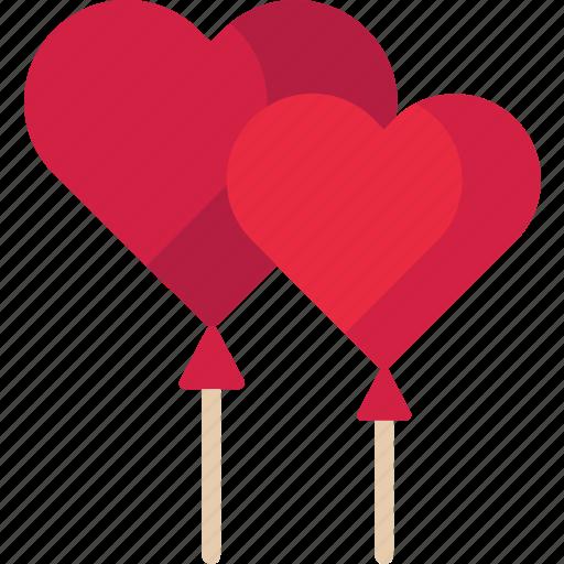 balloons, heart, love, valentine icon