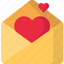 heart, mail, message, valentine icon