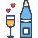 heart, love, romance, valentine, varlk, wine icon