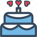 cake, heart, love, varlk, wedding icon