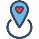 heart, location, love, map, pin, varlk