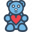 bear, heart, love, romance, valentine, varlk icon