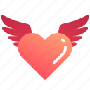 fly, heart, love, valentine, valentines, wing icon