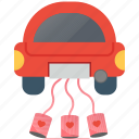car, day, february, heart, love, romantic, valentine icon
