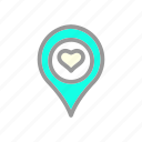 heart, location, love, romantic, valentine, wedding icon