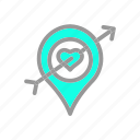 arrow, heart, location, love, romantic, valentine, wedding icon