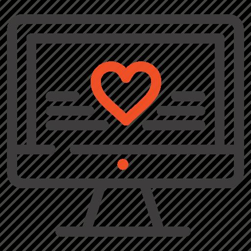 computer, heart, love, wedding icon