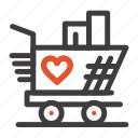 heart, love, trolly, weding icon