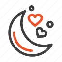 love, moon, night, romantic icon
