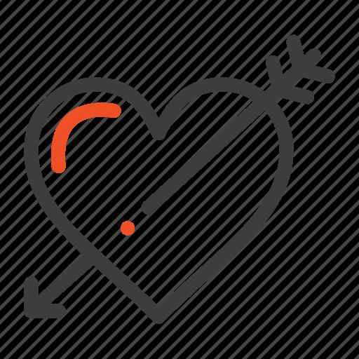 arrow, heart, holidays, love, valentine icon