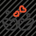 birds, couple, ducks, love icon