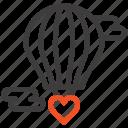 baloon, flying, heart, hot, love, valentine icon