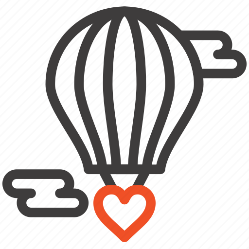 baloon, flying, heart, hot, love, valentine icon