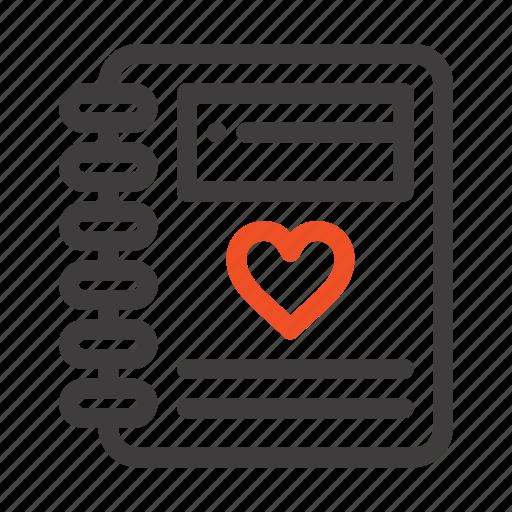 heart, love, notebook, wedding icon