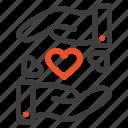 heart, love, sharing, wedding icon