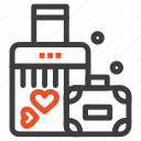 briefcase, heart, love, wedding