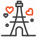 heart, love, tower, wedding icon