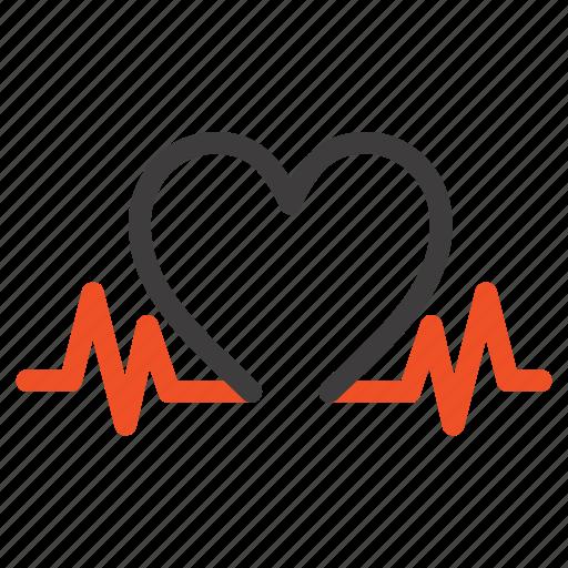 heart, heartbeat, love, wedding icon