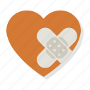 broken heart, heart, hurt, love, pain, patch, plaster icon