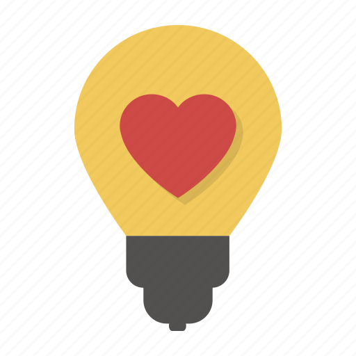bulb, heart, idea, lamp, light bulb, love, valentine icon