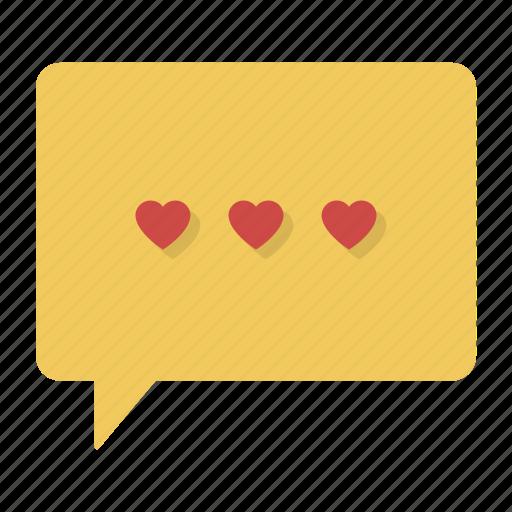 bubble, chat, comment, hearts, love, message, valentine icon