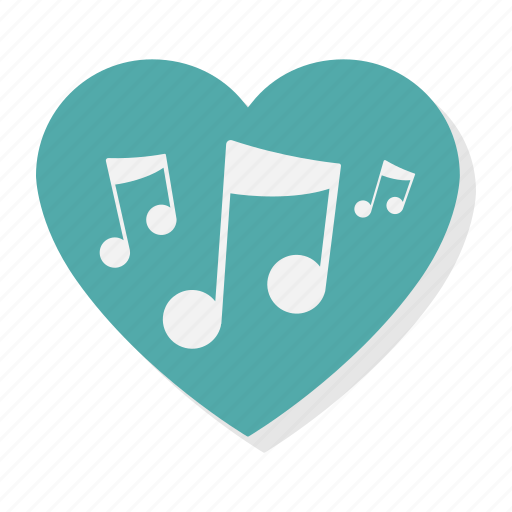 audio, heart, love, music, note, sound, valentine icon