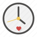 clock, date, heart, love, time, valentine, watch icon