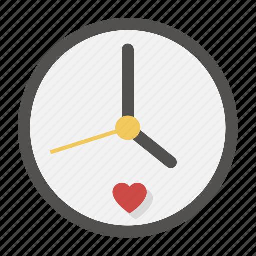 clock, date, heart, love, time, valentine, watch icon