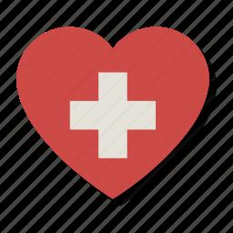 cross, first aid, health, heart, love, medicine, valentine icon