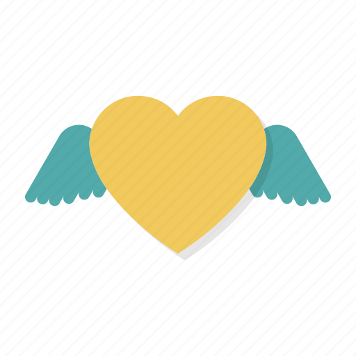 flying, heart, love, valentine, valentine's, valentines, wings icon