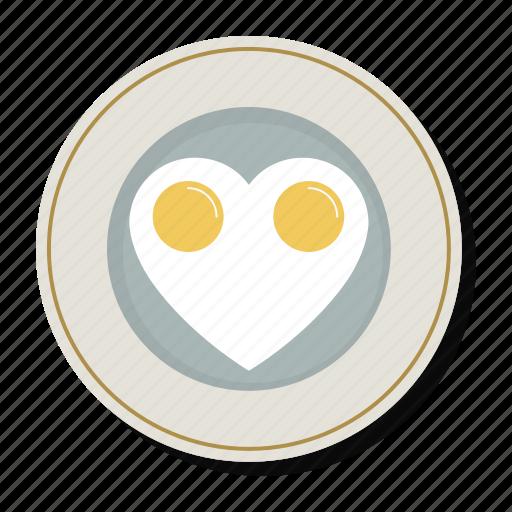 breakfast, cooking, eggs, food, heart, love, valentine icon