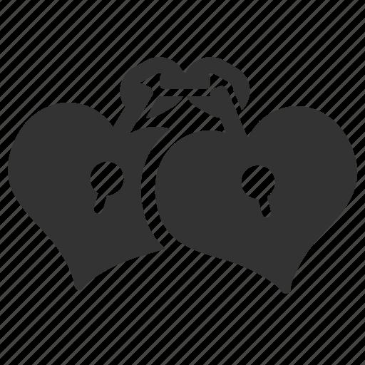 couple, heart, hearts, lock, love, manacle, valentine icon