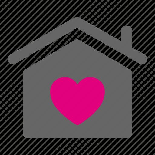 estate, heart, home, house, love, romantic icon