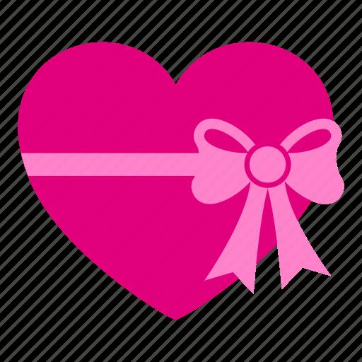 box, gift, heart, love, present, romantic, valentine icon