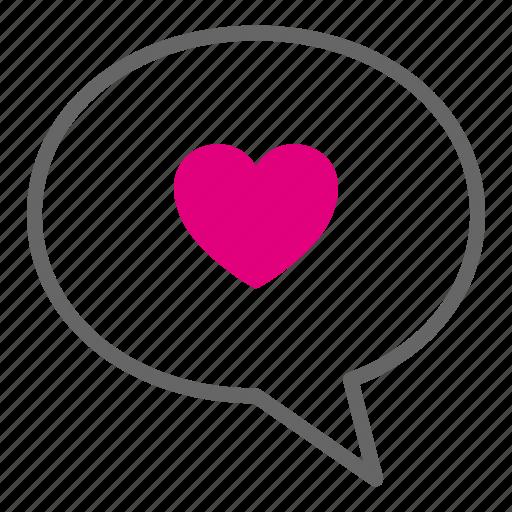 chat bubble, heart, love, message, romantic, talk, valentine icon