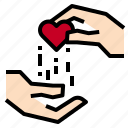 gift, hand, love icon