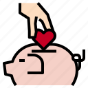 heart, love, piggybank icon