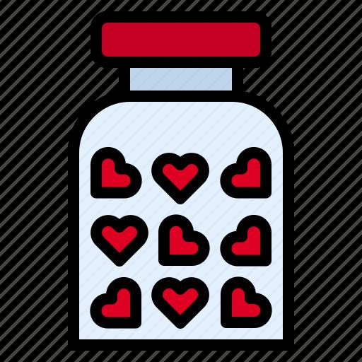 heart, jar, love icon